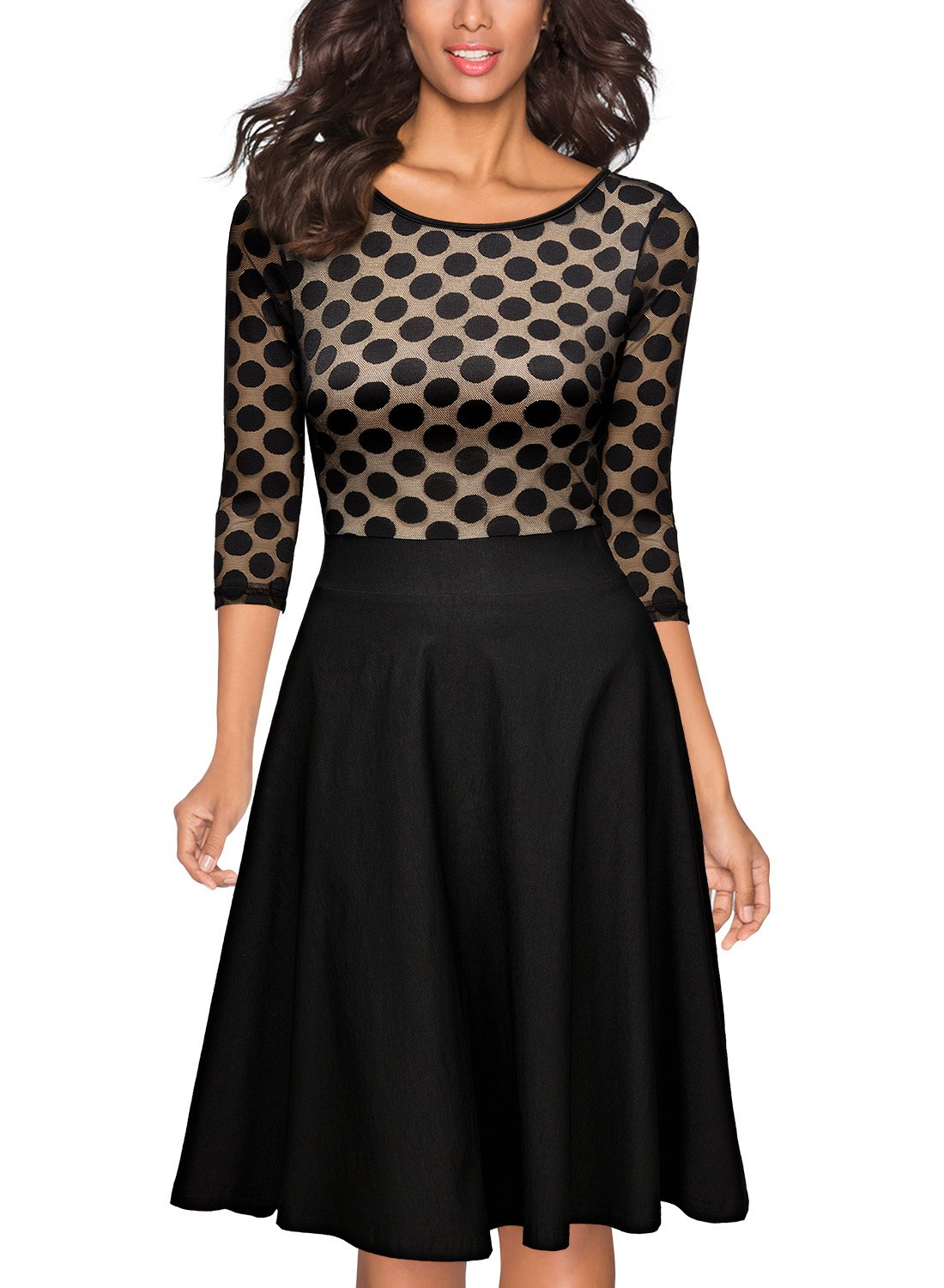 Miusol Women's Casual Polka Dot 2/3 1950'S Style Sleeve Party Swing Dress,Black,Large by Miusol