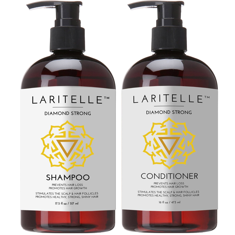 Laritelle Organic Shampoo 17 oz + Conditioner 16 oz | Prevents Hair Loss, Promotes Hair Growth | Argan Oil, Rosemary, Ginger & Cedarwood | NO GMO, Sulfates, Gluten, Alcohol, Parabens, Phthalates