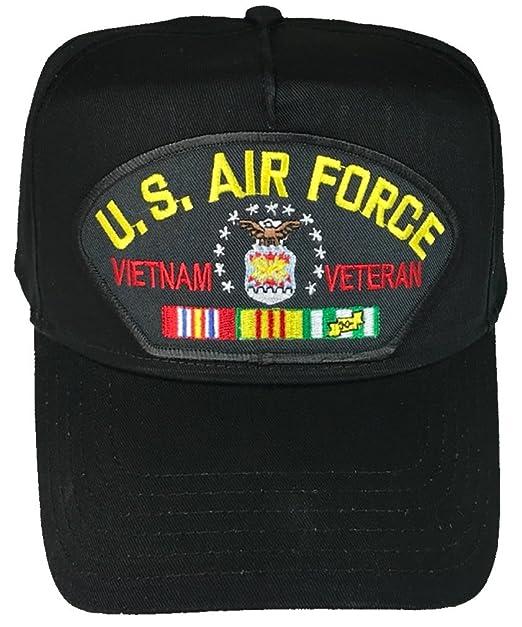 32374beca86 U.S. AIR FORCE VIETNAM Veteran Hat with ribbons and USAF Crest Cap - BLACK  - Veteran