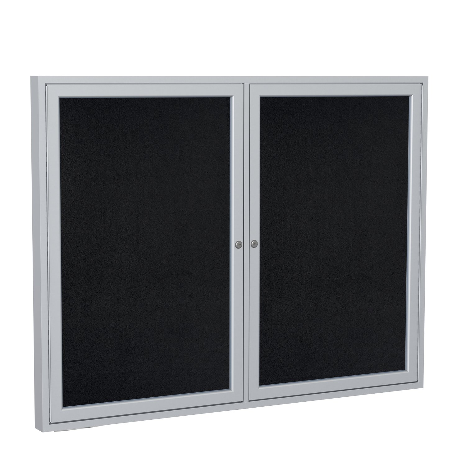Ghent 36''x48'' 2-Door indoor Enclosed Recycled Rubber Bulletin Board, Shatter Resistant, with Lock, Satin Aluminum Frame,Black (PA23648TR-BK) ,Made in the USA