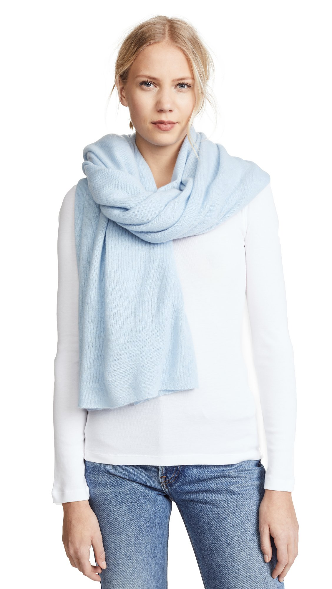 White + Warren Women's Cashmere Wrap Scarf, Powder Blue, One Size