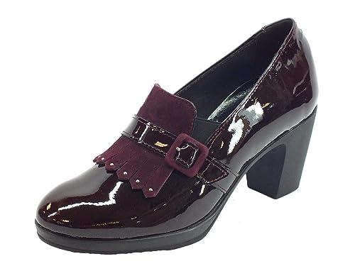 susimoda Mocasines para Mujer de Pintura Wine con Bolsillo y tacón Alto: Amazon.es: Zapatos y complementos