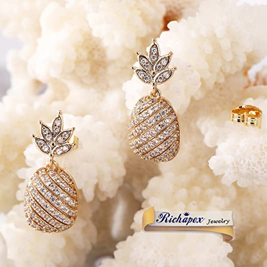 crystals throughout bohemian earrings pineapple, long earrings Real crystal inlaid 14k gold plated bold pineapple statement earrings