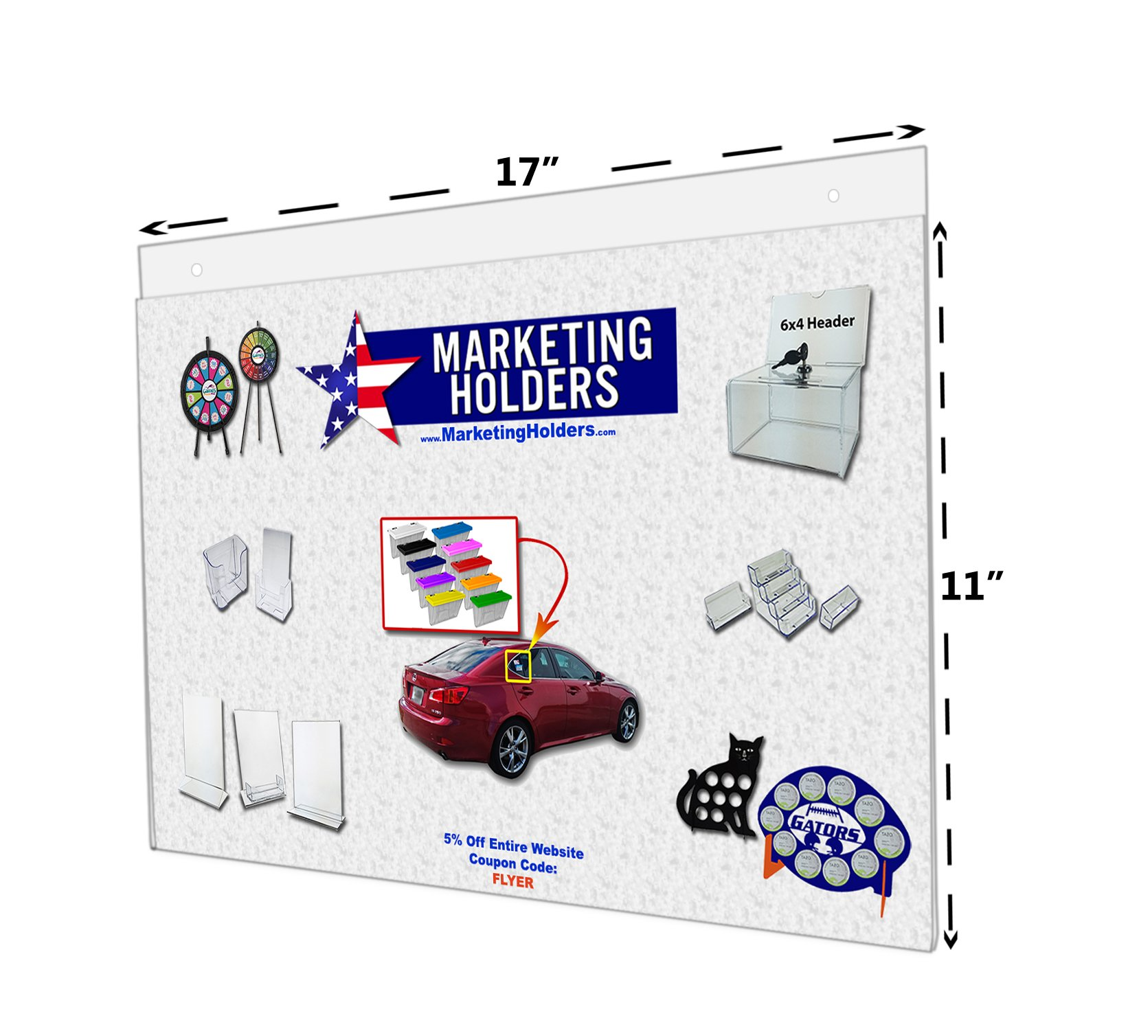 Marketing Holders Wall Mount Sign Holder Clear Ad Display Frame Acrylic Wholesale 17''w X 11''h With Holes Lot of 20 by Marketing Holders (Image #3)