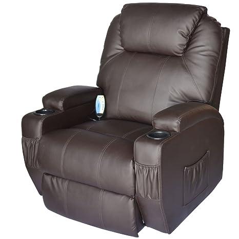 amazon com homcom luxury faux leather heated vibrating massage