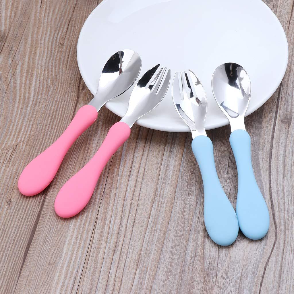 Vaisselle pour Enfant ustensiles de Table /à poign/ée Souple Runrain Ensemble de Couverts de Couleur Bonbon avec Fourchette et cuill/ère pour Nourrisson Vaisselle pour Nourriture