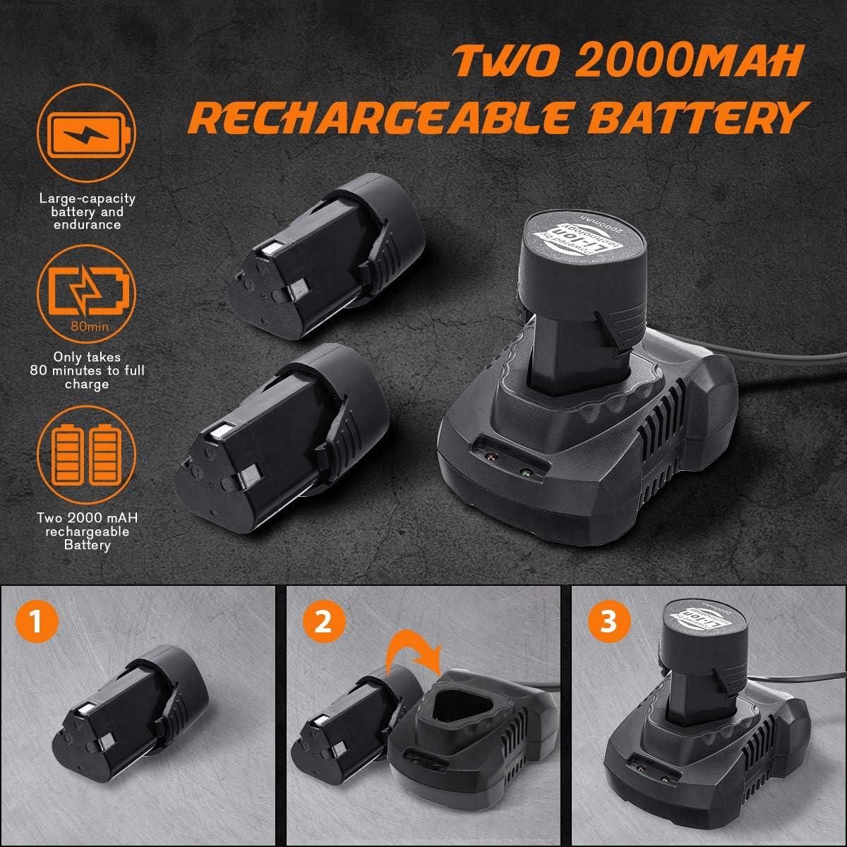 2 Bater/ías, 2 Ah, Torque m/áximo: 25 Nm, 18 + 1 Niveles de torque, Juego de accesorios de 21 piezas Taladro Atornillador Estuche Profesional NASUM Destornillador El/éctrico 10 Brocas 12V con luz LED