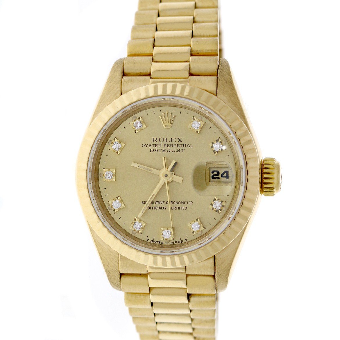 Rolex President Datejust Ladies 18K Yellow Gold Factory Champagne Diamond Dial 26MM Watch 69178 (Certified Pre-owned)