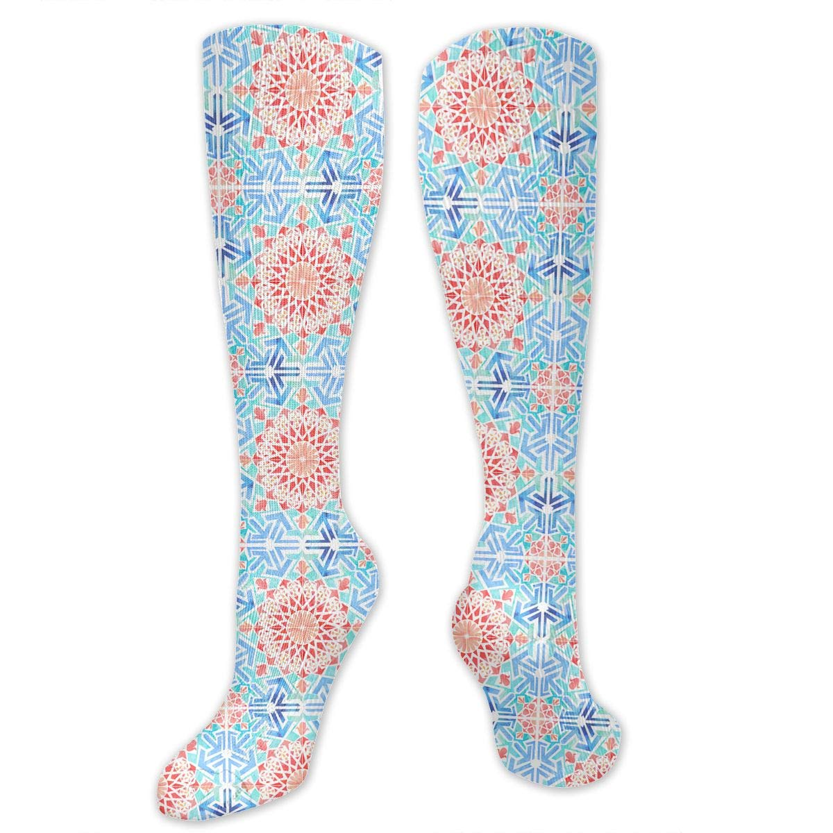 Pena Palace Mens Fun Dress Socks Colorful Pattened Novelty Mid-Calf Crew Socks Premium Cotton Vibrant Art Socks Willbegood99 Watercolour Tile Repeat