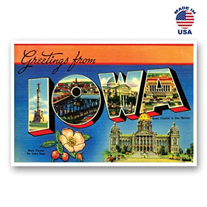 GREETINGS FROM IOWA vintage reprint postcard set of 20 identical postcards   Large letter US state name post card pack (ca  1930's-1940's)  Made in