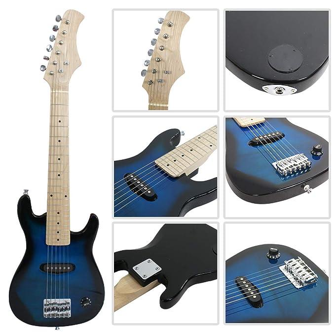 smartxchoices 30 cm niños guitarra eléctrica con amplificador de 5 W y mucho más guitarra Combo Kit de accesorios vacaciones regalo (azul): Amazon.es: ...