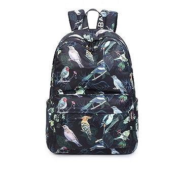 537138e64b Amazon.com  Acmebon Waterproof Fashion School Backpack for Teen Girl Laptop  Backpack Black Bird  AcmebonDirect