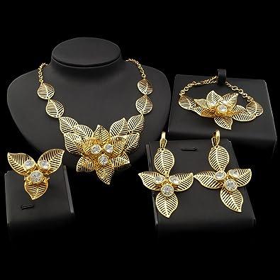 4f7d6e921b0 Yulaili Mode parures pour Femme Africaine Costume Collier Mode Charms  Bracelet plaqué Or 24 K Dubaï