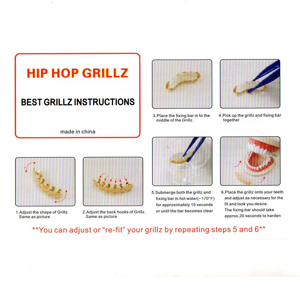 Lureen 14k Gold Silver Pave Full CZ Grillz 6 Top and Bottom Hip Hop Teeth Sets (Silver Set) by Lureen (Image #7)