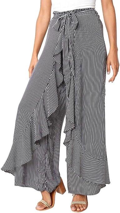 Logobeing Mujer Verano Pantalones Largos de Cintura Alta a Rayas ...
