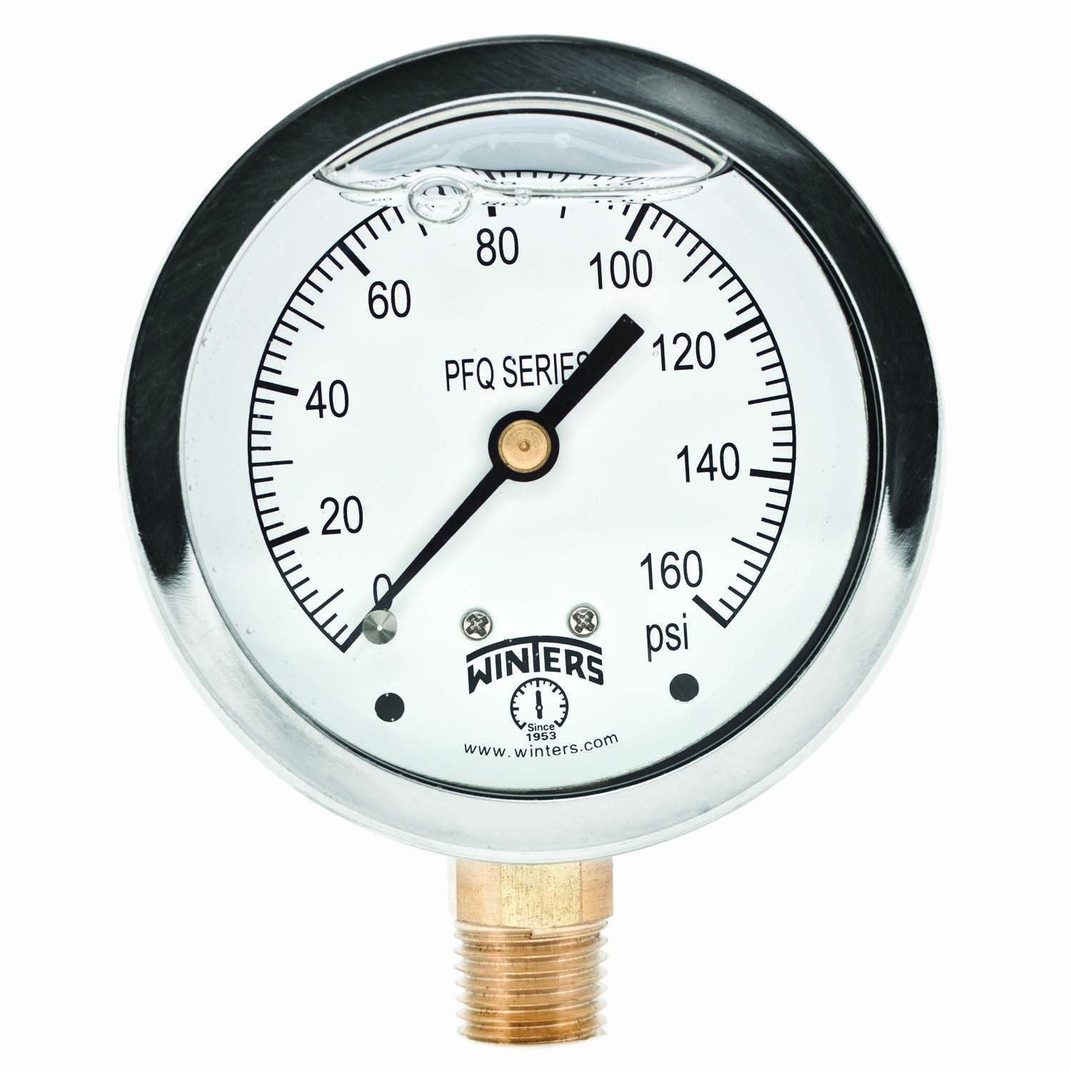 Winters PFQ Series Stainless Steel 304 Single Scale Liquid Filled Pressure Gauge with Brass Internals, 0-160 psi, 2-1/2'' Dial Display, +/-1.5% Accuracy, 1/4'' NPT Bottom Mount