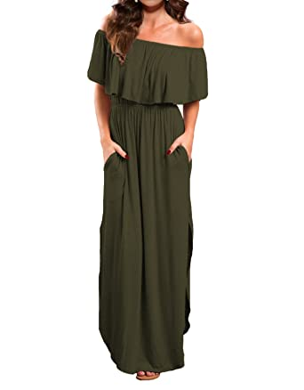 de179cbf478c VERABENDI Women s Off Shoulder Summer Casual Long Ruffle Beach Maxi Dress  with Pockets Small Army Green