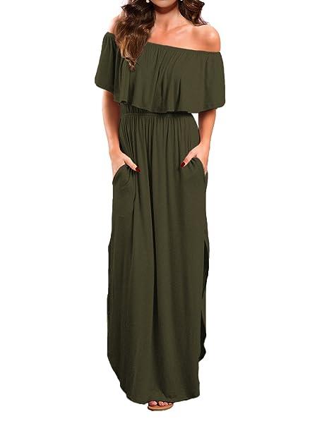55b2aba32678b VERABENDI Women's Off Shoulder Summer Casual Long Ruffle Beach Maxi Dress  with Pockets