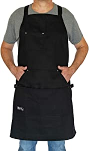 bibZilla - Professional Chef Apron for Men Women Cooking Kitchen BBQ Grill with Large Pockets, Quick Release Buckle, Dual Side Loops, Adjustable Size M to XXL, 10 OZ 100% Cotton Black