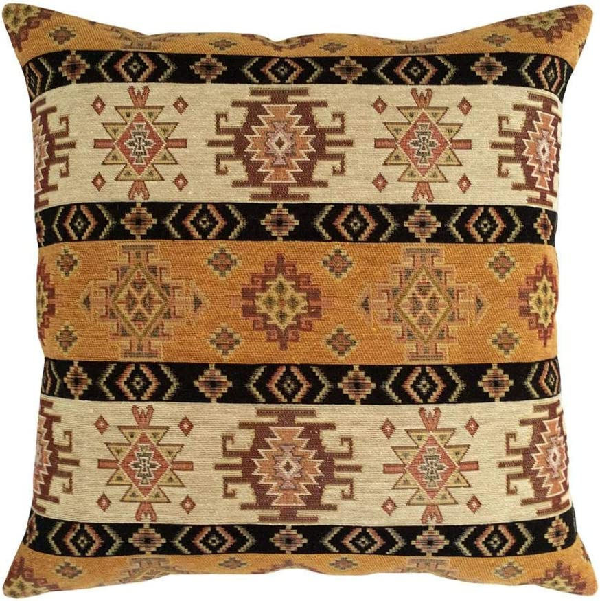 """pillowerus Tapestry Gobelin Mustard Yellow-Cream 16""""x16"""" Throw Decorative Pillow Cover Sham Ethnic Turkish Kilim Tribal Style for Home Decor, Sofa, Couch, Porch, Patio, Window Seat"""