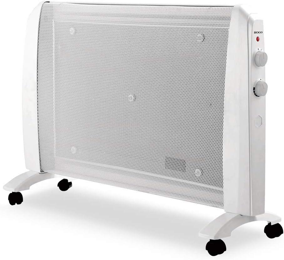 SOGO SS-18440 Radiador de Mica Bajo Consumo, Calefactor Eléctrico Portátil, Calefacción Eléctrica con Termostato Regulable, Potencia de 1000W y 2000W, Estufa Bajo Consumo, Color Blanco