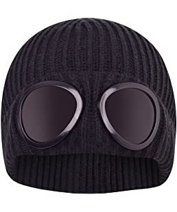 Mens Designer Goggle Beanie Knitted Woolly Winter Chunky Beany Hat Black