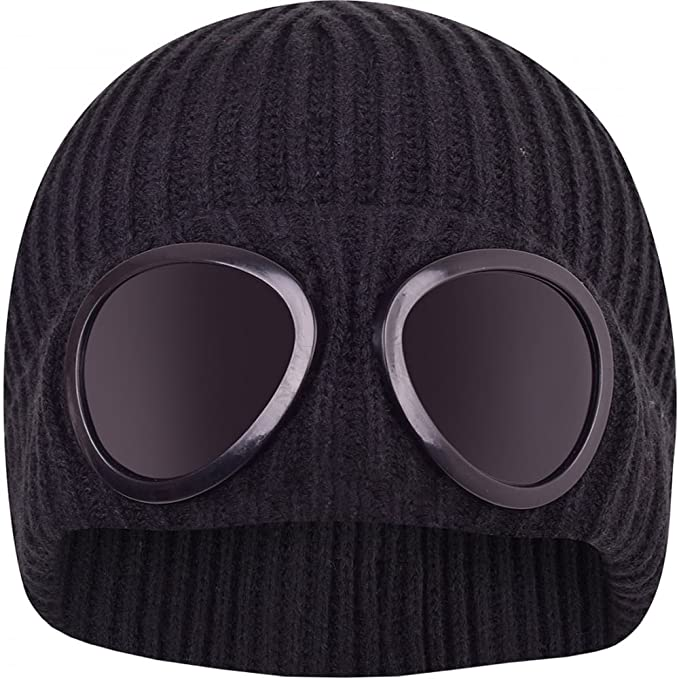 669c80431a2 Mens Designer Goggle Beanie Knitted Woolly Winter Chunky Beany Hat Black   Amazon.co.uk  Clothing