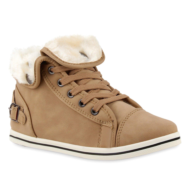 Stiefelparadies Damen Sneaker High übergrößen Glatt Warm Gefüttert Flandell Taupe Glatt übergrößen Gefüttert 75b47e