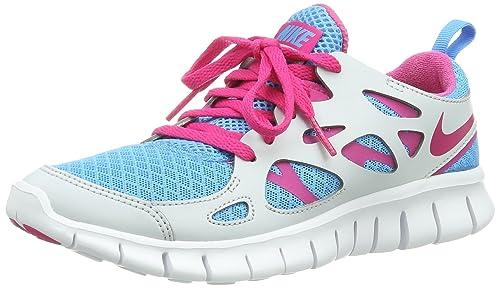 Nike Free Run 2.0 Gs Gris Azul De Destello De Color Rosa