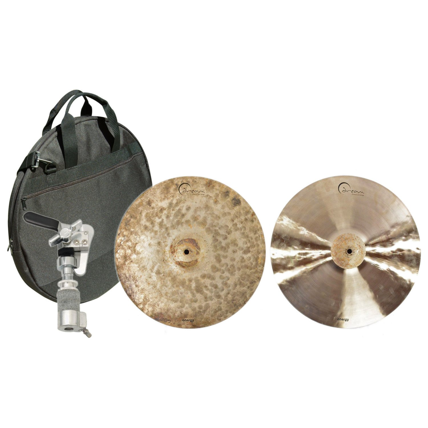 Dream EHH16 16 Inch Energy Hi Hat Pair w/ Bag and Hi Hat Clutch by Dream Cymbals and Gongs