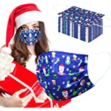 Christmas Disposable Mask Blue for women adult man 50 pcs Christmas Mask Disposable 3 Layer adjustable masks with Nose…