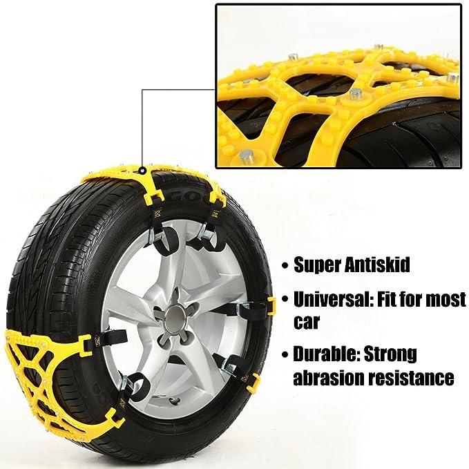 iRegro fácil de instalar neumático Cadenas nieve Cadena antideslizante, apto para la mayoría de coches / SUV / Truck-Conjunto de 6-Hop & Fly: Amazon.es: ...