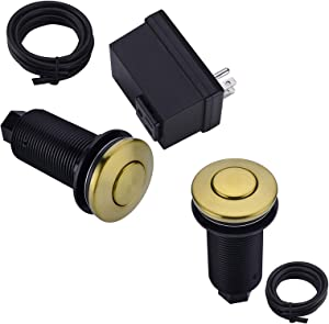 BESTILL Sink Top Air Switch Kit for Garbage Disposals, Brushed Gold (Long Button with Brass Cover)