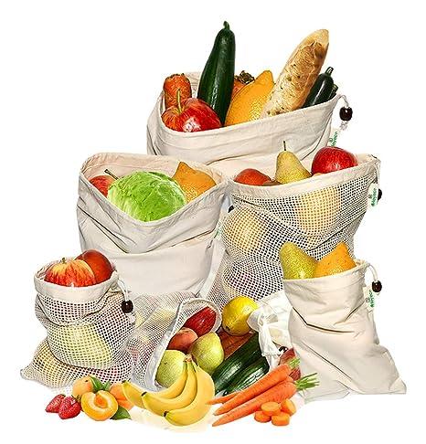 HEYECO Bolsas Reutilizables - Malla Algodón Orgánico y Tela de Muselina - Bolsa para Frutas y Vegetales con Cordónn, Bolsa para Compras - Ahorro Real ...