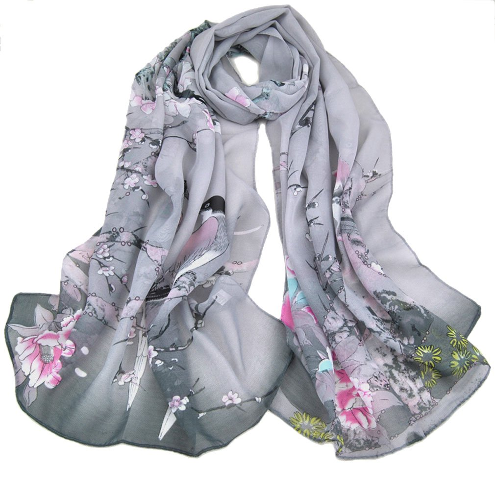 LMVERNA Chiffon Flower Scarf Womens Printe Polka Dot Shawls Long Scarf Wrap