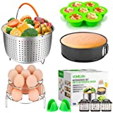 "Cooking Accessories for Instant Pot 6,8 Qt, 10-Piece Instant Pot Steamer Basket,Silicone Egg Bites Mold,7"" Springform Pan,Egg Steamer Racks,Magnetic Cheat Sheets Oven Mitts and Recipes Cookbook Ebook"