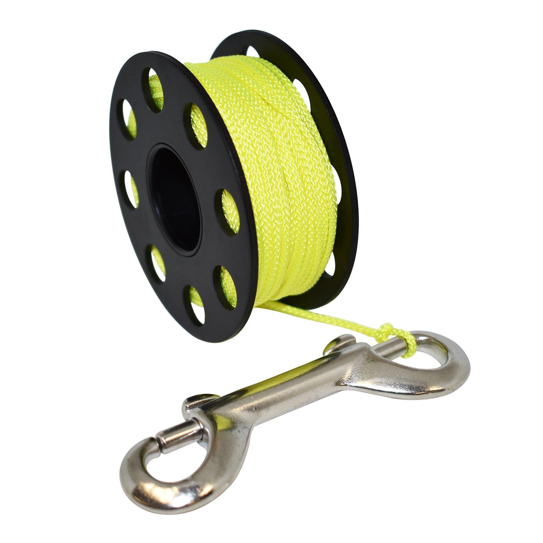 Scuba Choice Aluminum Finger Spool 75ft Dive Reel w/Bolt Snap-Black/Yellow