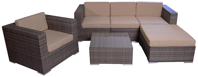 rattan sitzgruppe ecksofa loungegruppe l sofa in grau breite armlehnen inkl wasserabweisenden. Black Bedroom Furniture Sets. Home Design Ideas