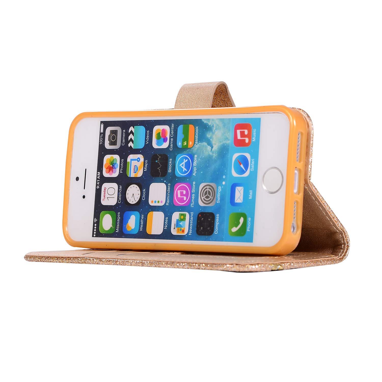 JAWSEU Compatible avec iPhone 5//5S//SE Coque PU Cuir Bling Diamant,Ultra Mince Leather Portefeuille Etui Coeur damour Paillette Brillant Sparkle Glitter Strass Flip Wallet Case,Noir