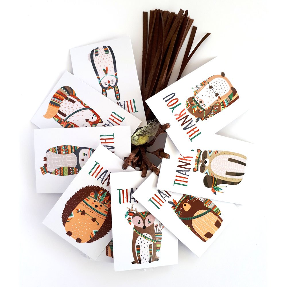 Tribal Woodland Forest Animals Thank You Favor Tags - Baby Shower Birthday Party Gifts - Set of 24