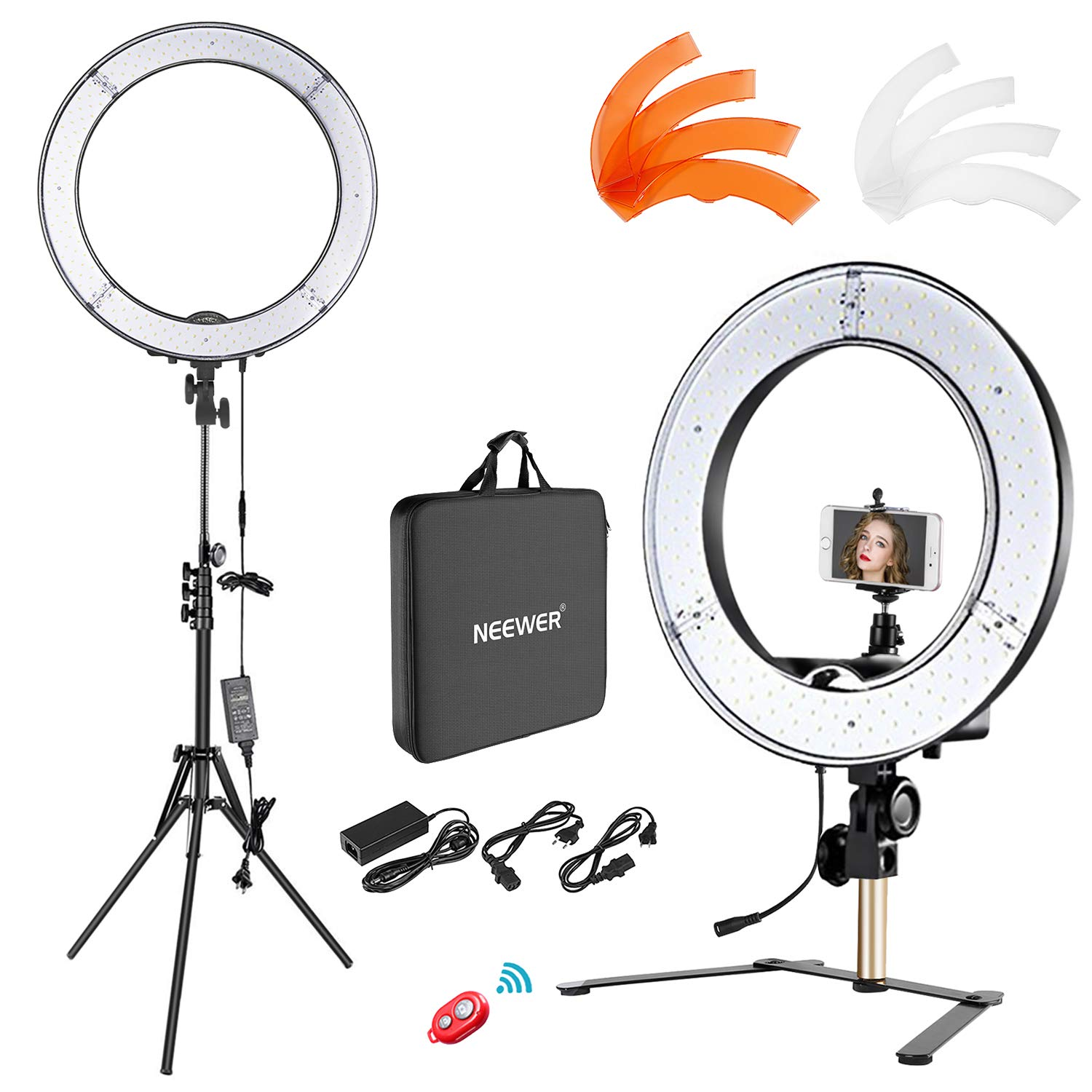 Neewer Desktop and Floor Ring Light Lighting Kit: 18 inches 55W 5500K Dimmable LED Ring Light with Floor Light Stand, Soft Tube, Tabletop Support Stand for Camera, Smartphone Video Make-up Shooting by Neewer