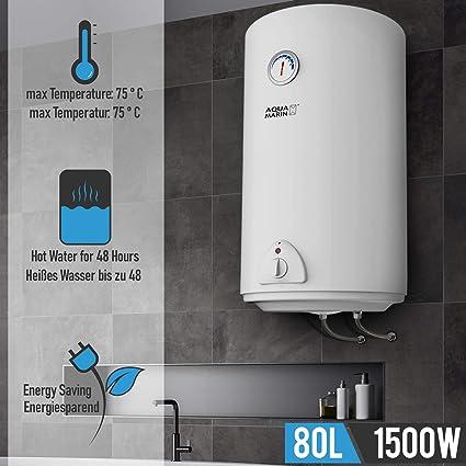 Flybear 80L Neu Elektro Warmwasserspeicher Boiler Elektrospeicher Innentanks aus Edelstahl 30-75℃ Wei/ß Energieklasse A