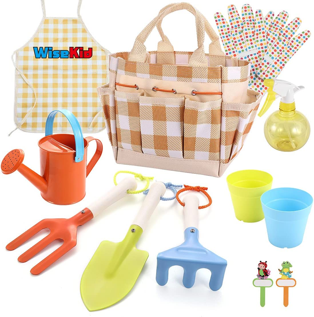 Wisekid Kids Gardening Tool Set, 12-Piece Includes Kids Size Fork, Trowel, Rake, Apron, Gloves, Watering Can, Tote Bag, Plant Pot and Tags, Wooden Handle and Durable Design, Gift for Boys and Girls