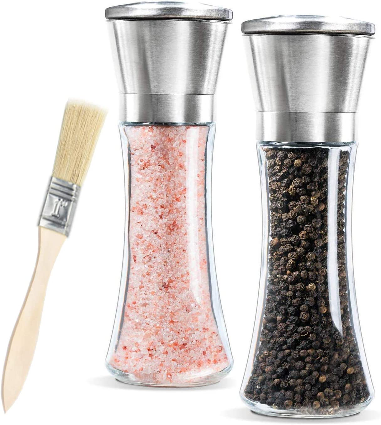 Molinillo sal y pimienta,Newyond Molinillos de especias,Acero inoxidable y vidrio(Conjunto de 2 piezas)