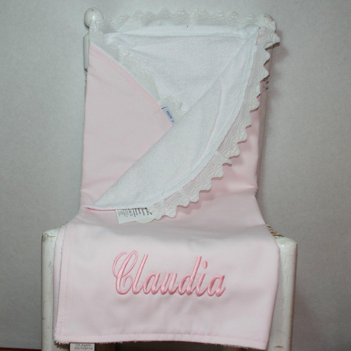 PRIMERAEDAD/ Arrullo en pique interior de rizo con puntilla blanca personalizado con el nombre del bebé/ COLOR ROSA (65 X 75 cm): Amazon.es: Bebé
