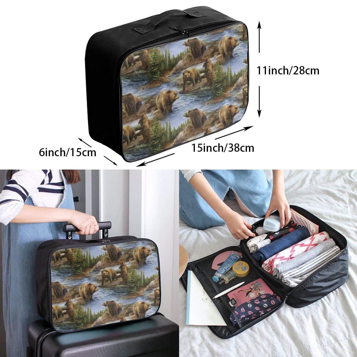 Women /& Men Foldable Travel Duffel Bag Bears Lovers Pattern For Luggage Gym Sports
