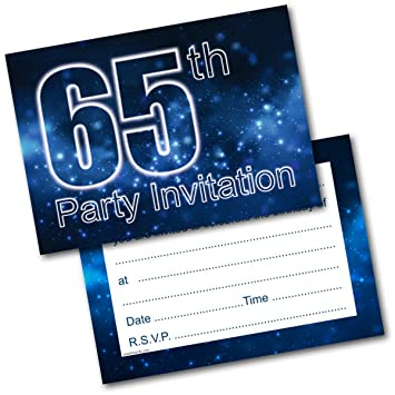 Doodlecards 65th Birthday Party Invitations Male Invites Pack Of 20 Postcards And Envelopes