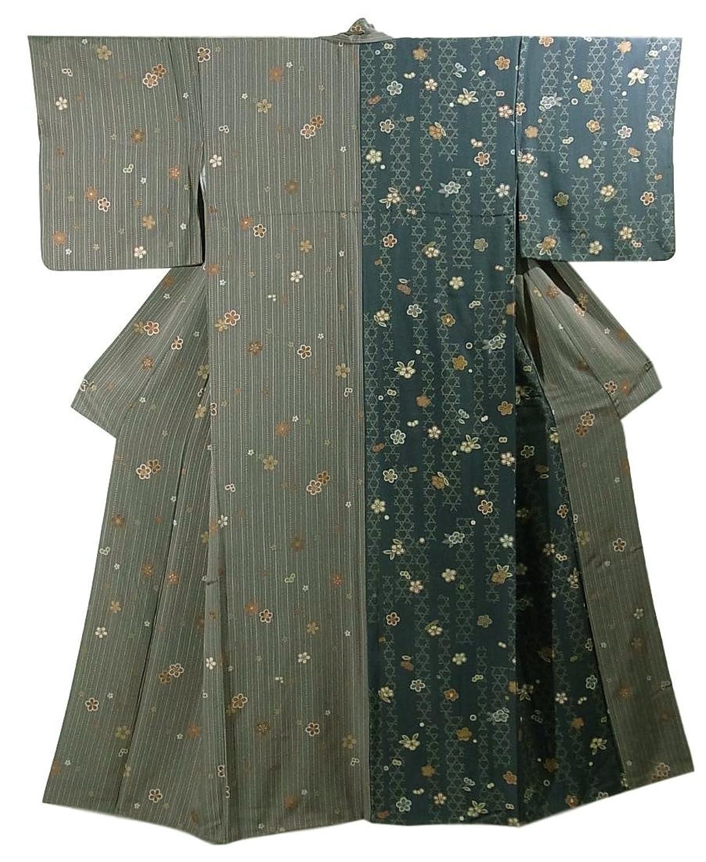 リサイクル 着物 小紋 片身替わり 籠目に梅の花模様 裄67cm 身丈160cm 正絹 袷 B07F658LQY  -
