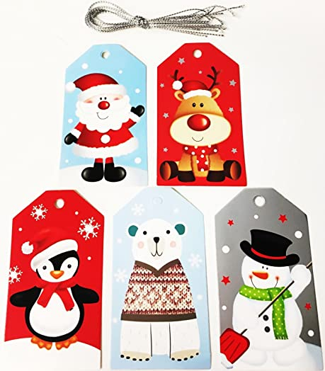 50 Luxury Christmas Cute Gift Tags Present Decoration Paper Craft Luggage  Label Santa Rudolf Snowman Xmas