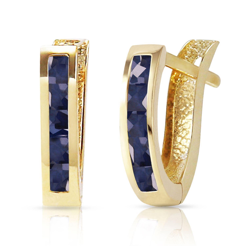 ALARRI 1.3 Carat 14K Solid Gold Oval Huggie Earrings Sapphire